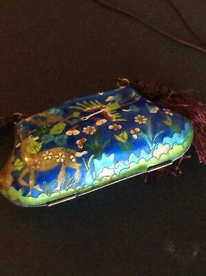 Beautiful Antique Chinese Blue Cloisonne Inro Purse