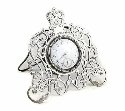 Black Starr & Frost 8 Day Sterling Silver Miniature Desk Clock Swiss Movement