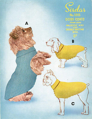 VINTAGE KNITTING PATTERN COPY - TO KNIT DOGS  COATS IN 3 SIZES - 4 & 8PLY 1950's