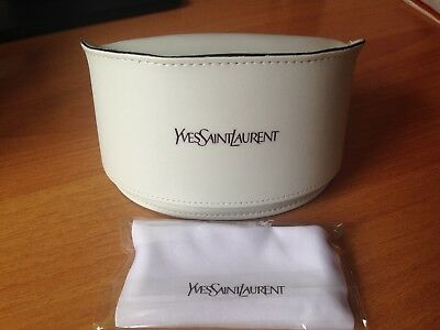 Yves Saint Laurent  Italy Large White Leather Sunglasses Case With Cloth