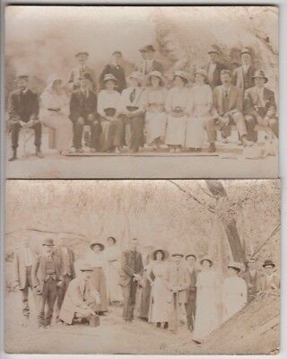 Real photo postcard pair of people on picnic by E.A Phillips Rotorua New Zealand