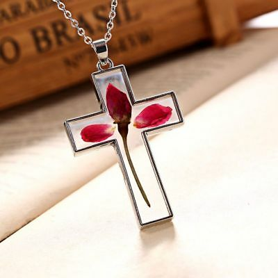 Rose Fashion Glass Cross Natural Women Jewelry Dried Flowers Pendant Necklace