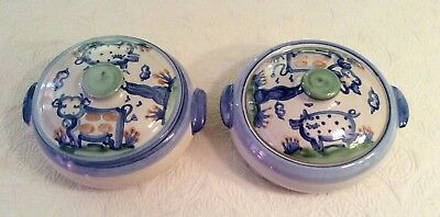 """TWO MA Hadley 10.25"""" Covered Casserole Dishes~Country Scene (Blue) """"The End""""~EUC"""