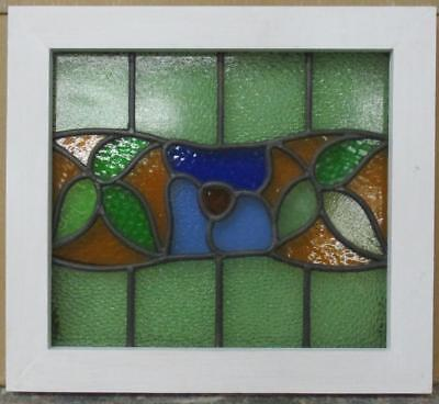 "OLD ENGLISH LEADED STAINED GLASS WINDOW All Color Floral 17.5"" x 16"""