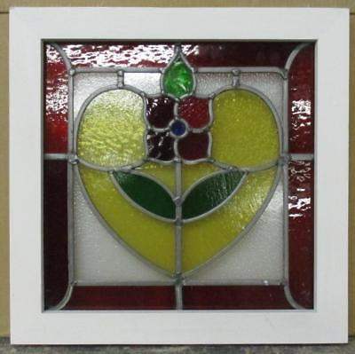 """OLD ENGLISH LEADED STAINED GLASS WINDOW Beautiful Flower 18.5"""" x 18.5"""""""