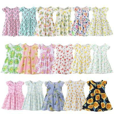 Toddler Baby Girls Floral Print Retro Casual O-Neck Ruffle Sleeve T-Shirt Dress