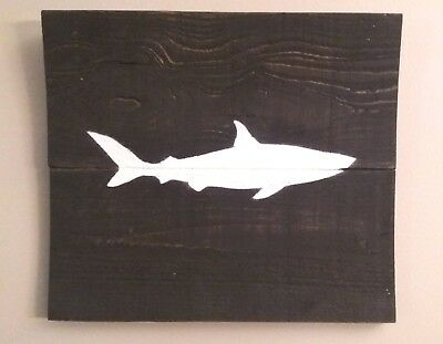 Handmade Reclaimed wood art dark stain Great White shark silhouette