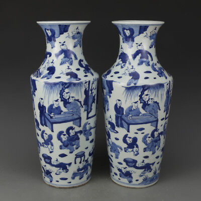 A Pair Beautiful Chinese Antique Blue&White Porcelain Children Play Pattern Vase