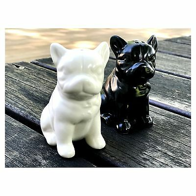 French Bull Dog Bully Porcelain Salt  Pepper Shaker Set White Black ceramic NEW