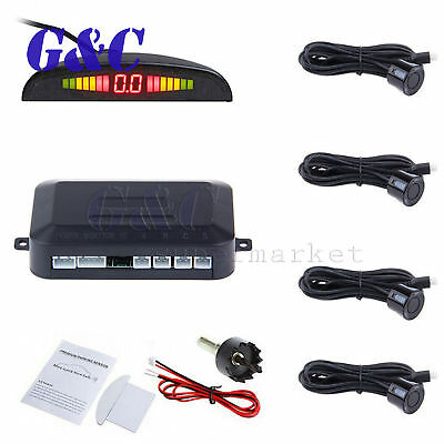 4 Parking Sensors LED Display Car Backup Reverse Radar System Warning Alarm Kit
