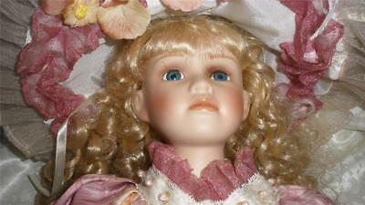 Stunning Quality  Bisque Porcelain Doll With Stand And Parasol