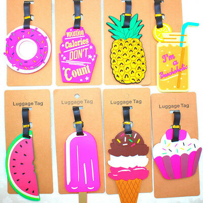 Cute Silicone Cartoon Luggage Baggage Tags Name Address ID Suitcase Travel Label