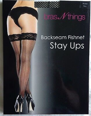 Bras N Things Black Backseam Fishnet Stay Up Stockings Size Tall