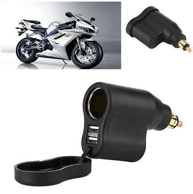 Waterproof Motorcycle Dual USB Port 3.3A Charger Adapter For BMW Din Hella Plug