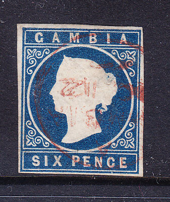 GAMBIA 1869 QV SG3 6d deep blue imperf - no wmk - 4 margins - fine used cat £200
