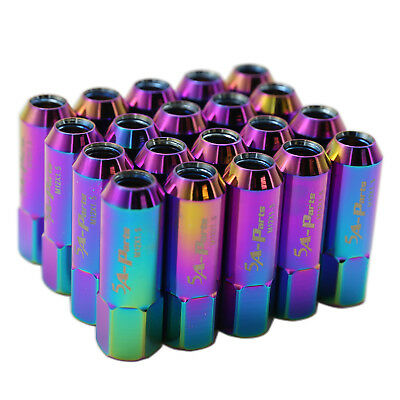 20PC 60mm NEO Chrome Extended Tuner Lug Nuts Wheel 12 x 1.5mm Acura Honda Toyota
