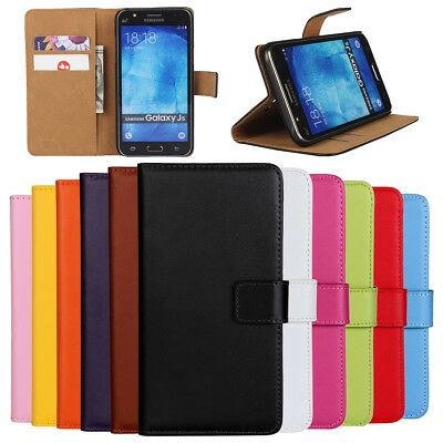 For Samsung Galaxy J1 J2 J3 J5 J7 Pro Flip Stand Card Genuine Leather Case Cover