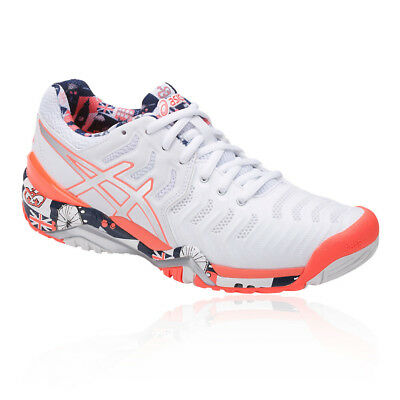 Asics Womens Gel-Resolution 7 L.E. London Tennis Shoes White Sports Breathable