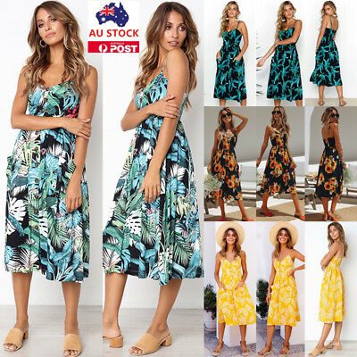 Plus Size Women Boho Floral Sleeveless Maxi Long Dress Summer Beach Party Dress