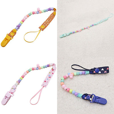 Mode Dummy Clip Holder Pacifier Clip Soother Chain Wooden Bead Teething Toy Baby
