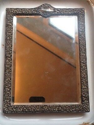 Silver Embossed & Leather Backed Victorian Bevelled Table Mirror 1898