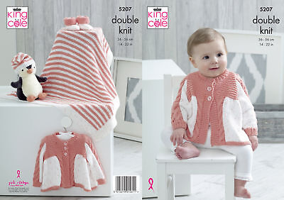 Baby Double Knitting Pattern Matinee Coat Blanket Hat Bootees King Cole DK 5207