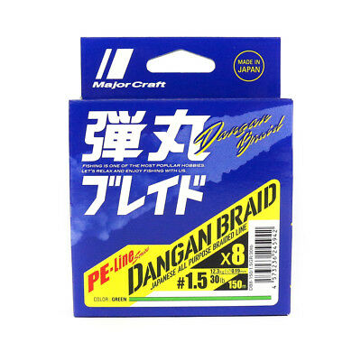 Major Craft Dangan Braided Line X8 150m P.E 1.5 Green DB8-150/1.5GR/30lb (5942)