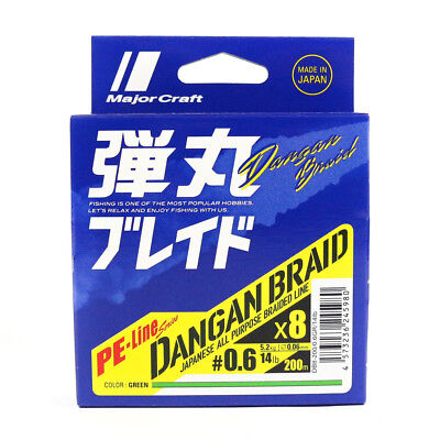 Major Craft Dangan Braided Line X8 200m P.E 0.6 Green DB8-200/0.6GR/14lb (5980)
