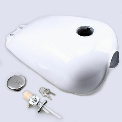 9L UK Replacement Kit Metal Fuel White Gas Can Tank for Suzuki GN125 Cafe Racer