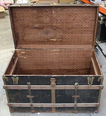 Vintage Steamer Trunk Victorian Fancy Flat Wooden Chest - No Tray or Key