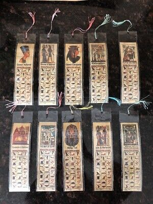 Lot Of 10 Ancient Egyptian Papyrus Bookmarks Cleopatra King Tut Nefertiti Book