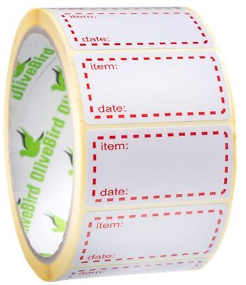 500 x Freezer Labels On Roll, Size 50x25mm, White and Red Date Labels For Foo...