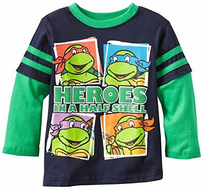 Toddler Boys T Shirt Tee Long Sleeves Ninja Turtles Character TNMT Navy 2T 3T 4T
