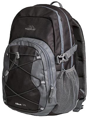 Trespass Albus Waterproof Unisex Outdoor Black and Grey Backpack Rucksack - Ash,