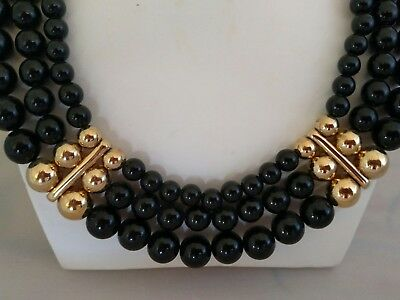 Vintage Givenchy Black And Gold Bib Necklace