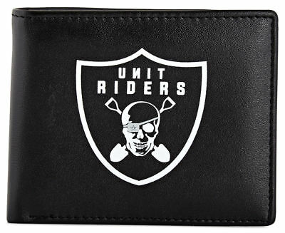Mens Unit Riders Art Based Streetwise Bifold Wallet Black Bnwt Free Post