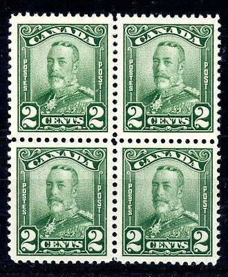 Weeda Canada 150 VF MNH block of 4, 2c green KGV Scroll issue CV $24