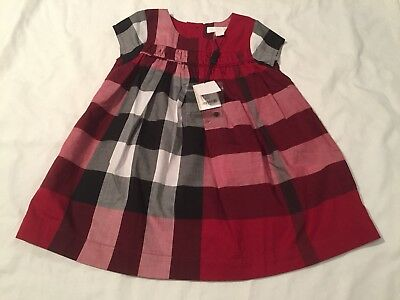New With Tags Burberry Baby Girls Summer Dress 18 Months Red Short Sleeve Red