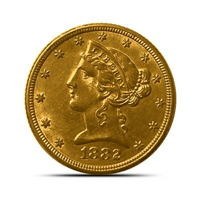 US $5 Liberty Gold Half Eagle Coin - Extremely Fine (XF) Or Better - Random Date