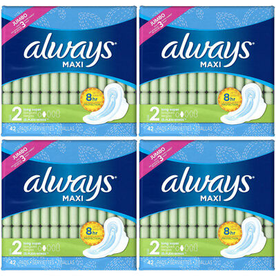 4 Packs Always Maxi Long Super Flexi-Wings Pads 42 count Each