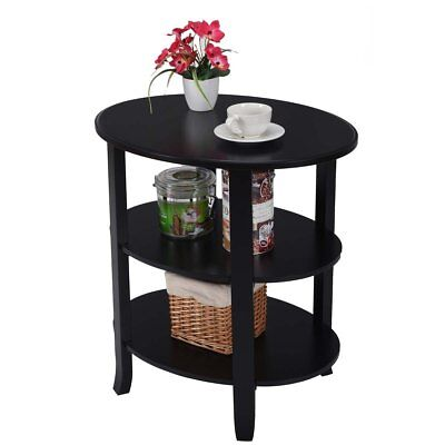 3 Tier End Table Oval Shaped Coffee With Solid Wood Flared Legs Black