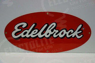 "Edelbrock Large Oval Dealership Sign. 13.5"" X 28"""