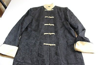 Oriental Satin Embroidered Black Gold Knot Tie Jacket Coat Medium M