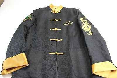 Oriental Embroidered Gold Dragon BEIJING DONG FANG Knot Tie Satin Jacket Large