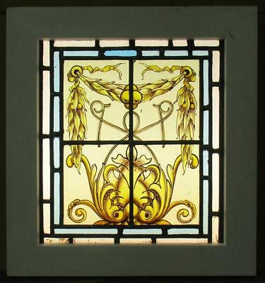 "OLD ENGLISH LEADED STAINED GLASS WINDOW Handpainted Panel w/ Border 14"" x 15"""