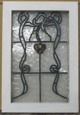 "OLD ENGLISH LEADED STAINED GLASS WINDOW Great Abstract Floral 14.5"" x 21"""