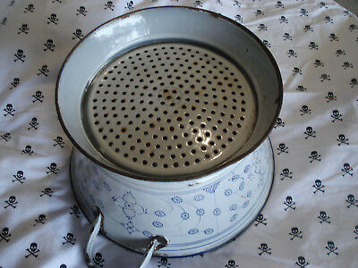 vintage colander 1930's blue and gray