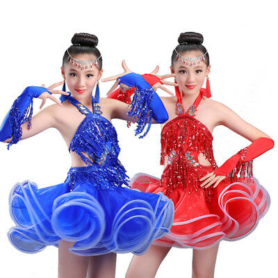 Girl Sequin Fringe Professional Latin Salsa Ballroom Dance Dress Dancing Costume