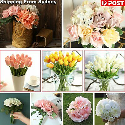Artificial Bouquet Silk Flowers Blossom Rose Peony Home Wedding Party Decoration