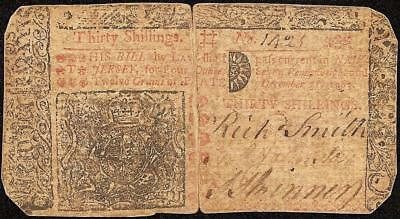 Dec 31, 1763 New Jersey Colonial Currency 30 Shillings Note Paper Money Nj-158